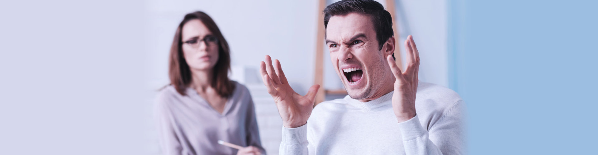 angry furious emotional man at counseling